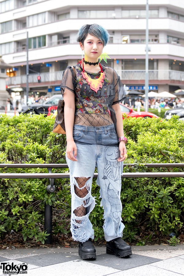Harajuku Girl in Ripped Jeans Over Fishnets, Flame Necklace & Platforms