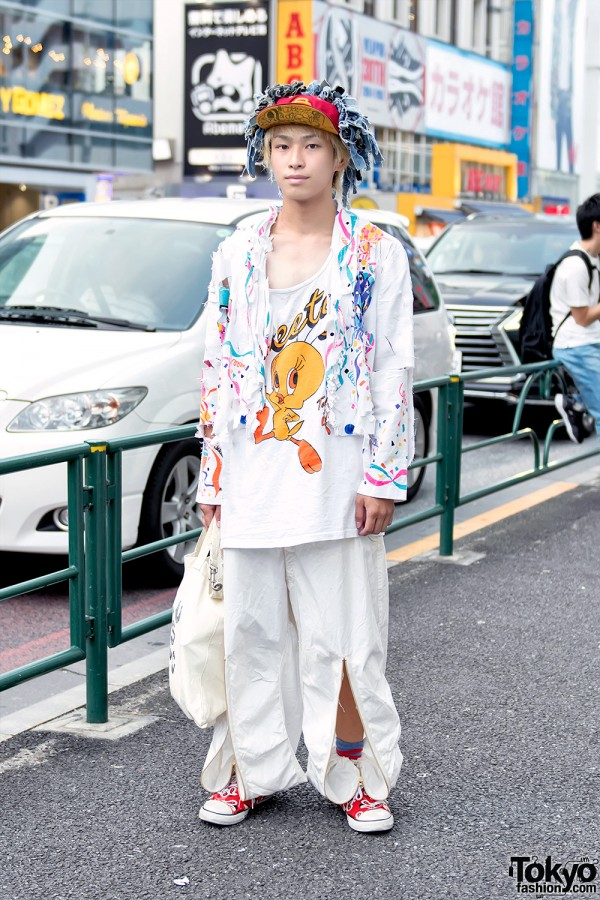 White Street Style With Dog Harajuku Pants