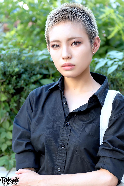 Harajuku Girl W Shaved Hairstyle Dark Fashion Vision Streetwear Bag
