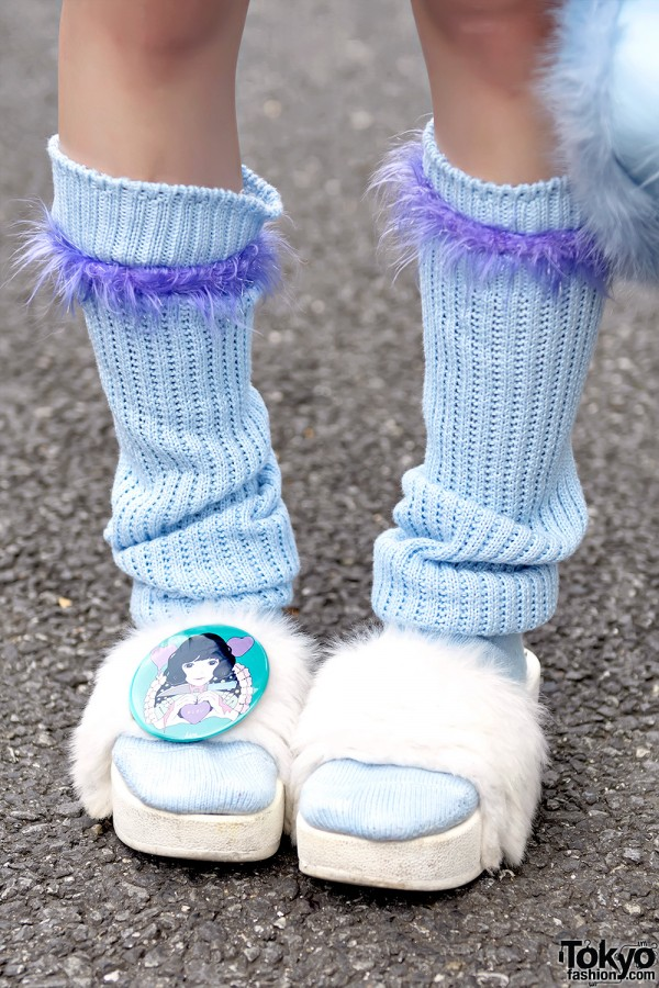Loose Socks, Fuzzy Sandals & Anime Badge