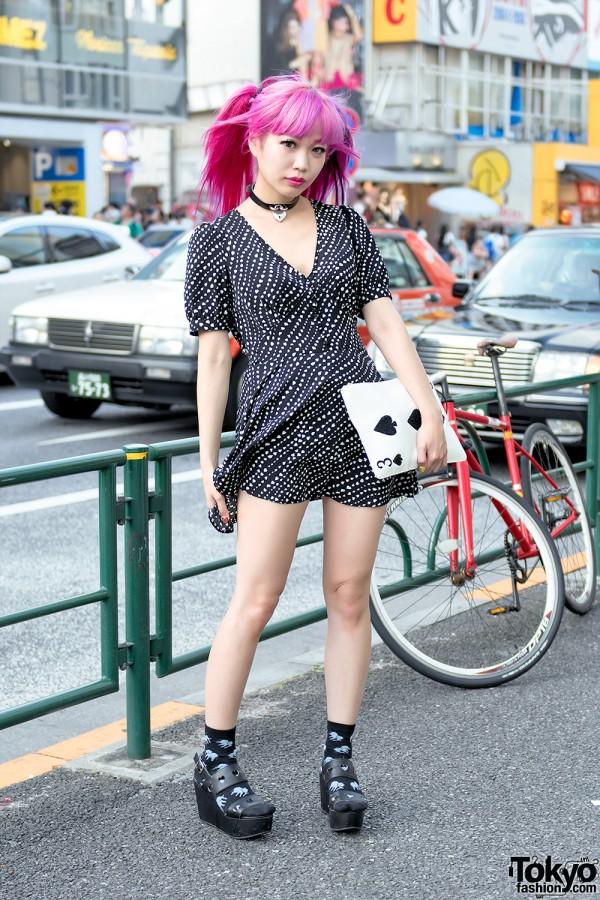Pink Hair & Spiral Girl Dress in Harajuku