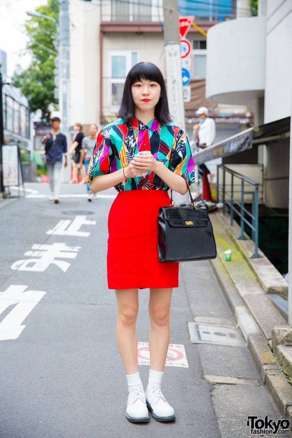 Harajuku Girl in Vintage Fashion w/ Graphic Print & Dr. Martens