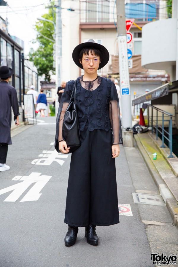 Harajuku Guy in All-Black, Androgynous Look W/ AKM, H.T.Maniac Men & Banal Chic Bizarre