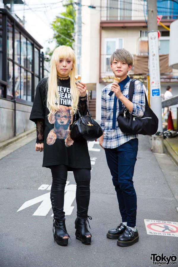 Harajuku Duo in Milkboy, Vivienne Westwood, Plaid & Platform Shoes