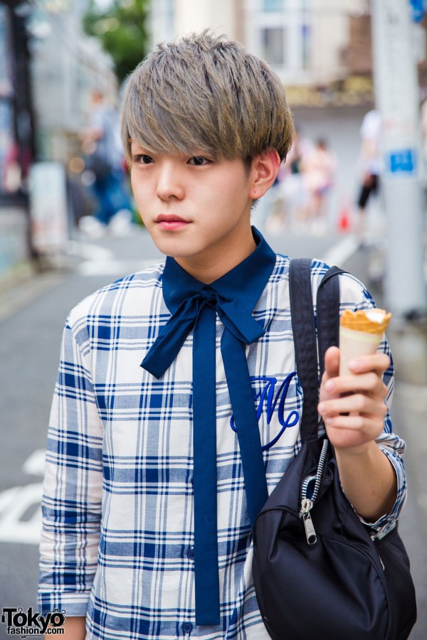 Plaid Top & Tie in Harajuku