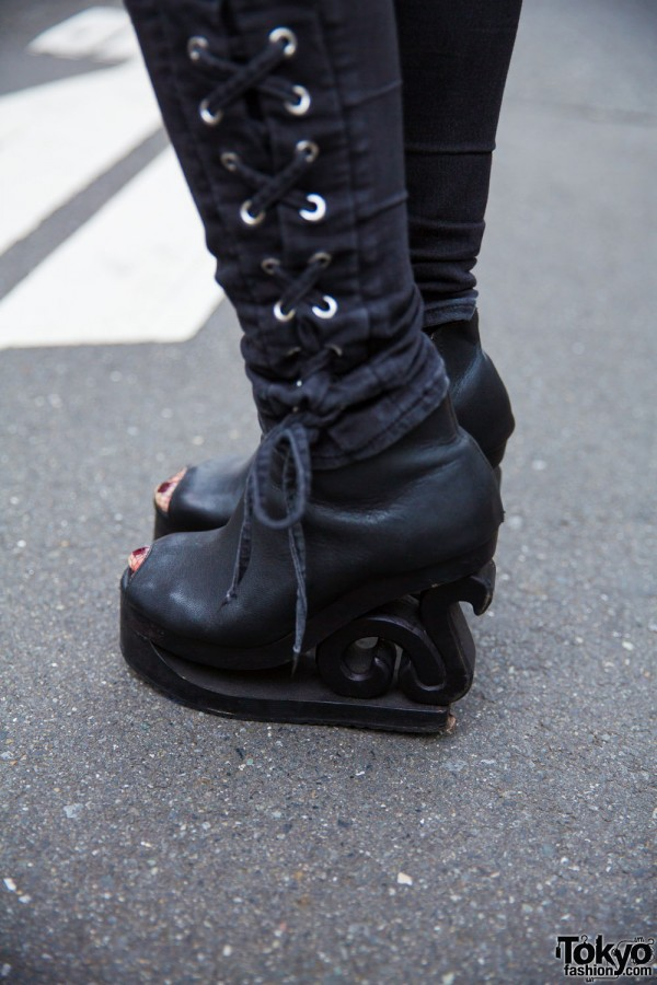 Black Wooden Platform Booties