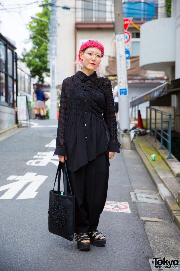 Pink Haired Harajuku Designer in All Black Fashion w/ Comme des Garcons & Tokyo Bopper