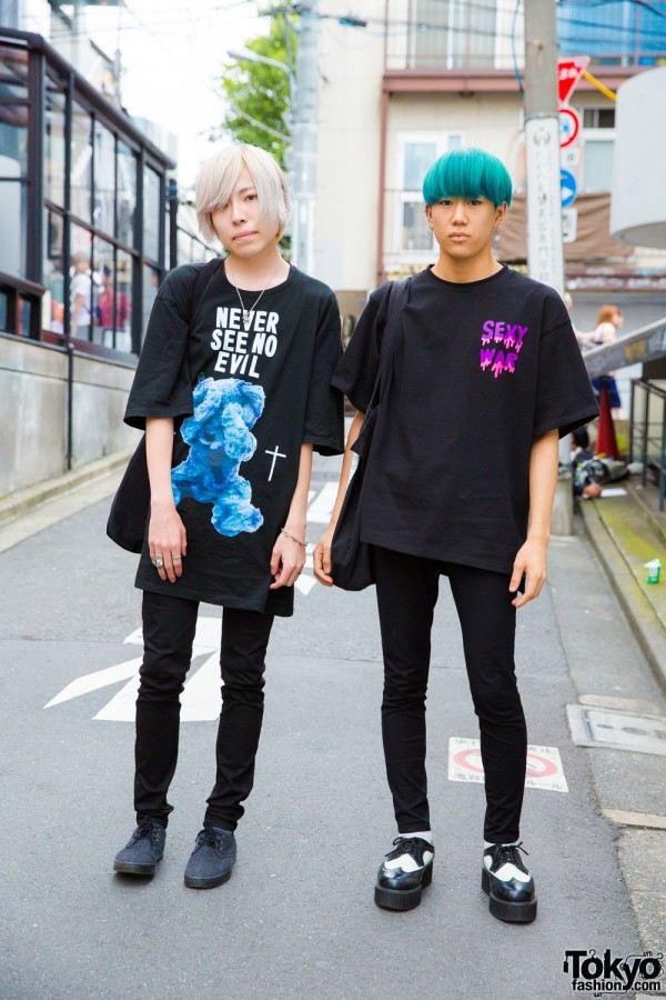 Harajuku Guys in Black  Fashion w/ MYOB NYC, More Than Dope, Milk Boy, Uniqlo & Banana Republic