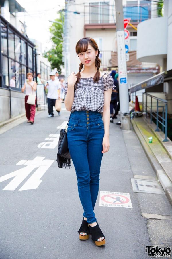 Harajuku Girl w/ Twin Braids in Trendy Denim & Gingham Street Style
