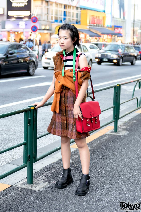 Deconstructed Shearling Jacket, Vivienne Westwood Skirt & UNIF Shoes in Harajuku