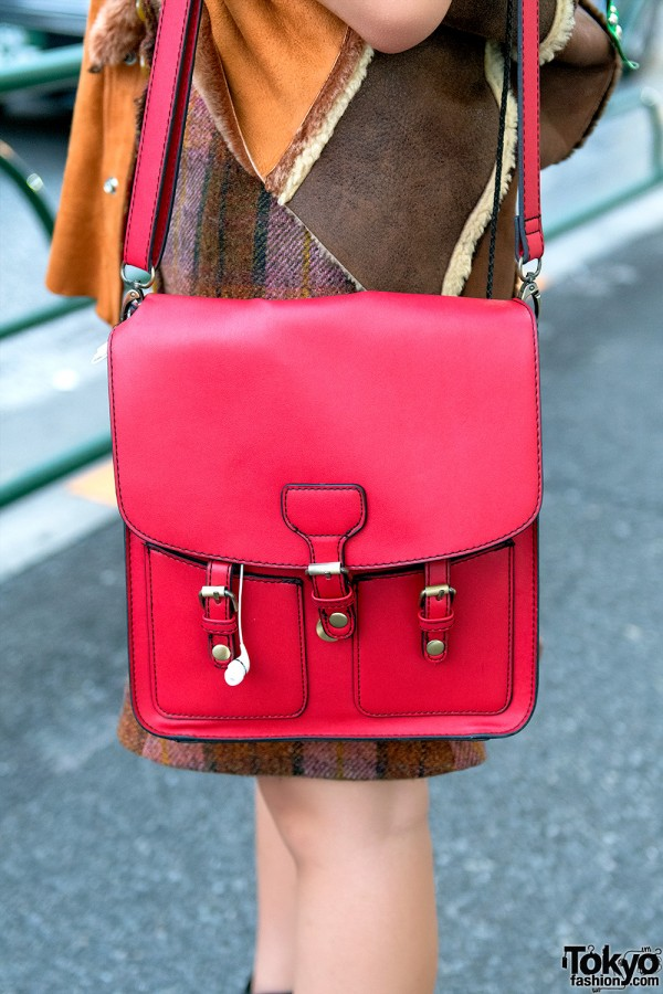 Red Leather Purse in Harajuku