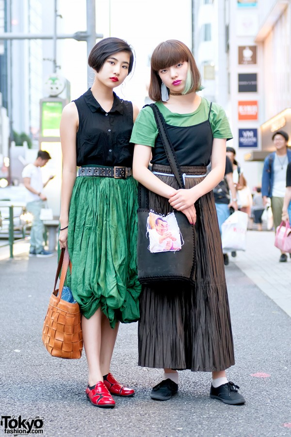 Harajuku Girls in Resale Street Styles w/ Green Hair, Maxi Skirt, Red Lipstick & Tattoo Necklace
