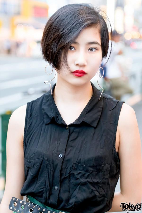 Short Black Tokyo Hairstyle & Red Lipstick