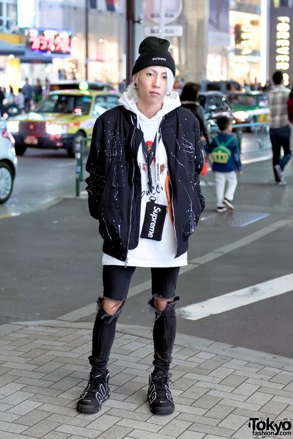 Harajuku Streetwear w/ Supreme x Tom & Jerry, REASON, Ripped Skinny Jeans & Nike Air Pippens