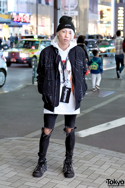 Harajuku Streetwear W Supreme X Tom Jerry Reason Ripped Skinny Jeans Nike Air Pippens