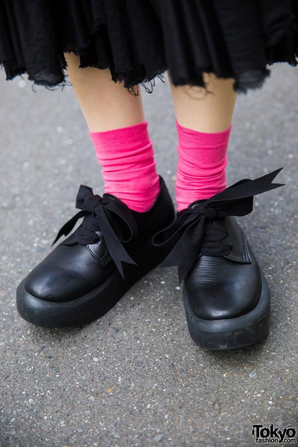 Tokyo Bopper Platform Shoes w/ Ribbon Laces