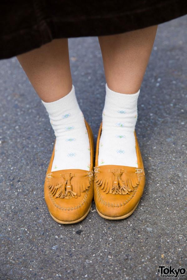 Cognac Fringe Loafers