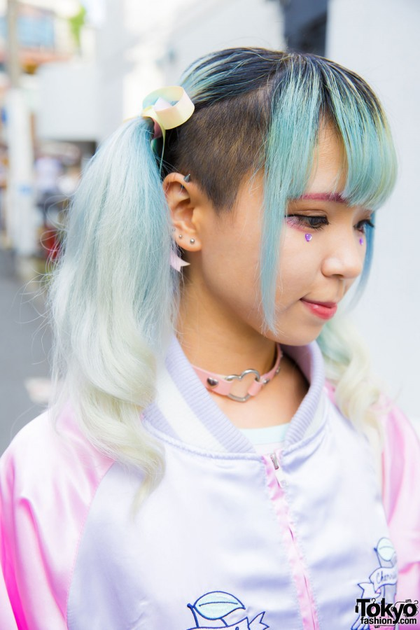 Twin Tails and Ombre Green Hair