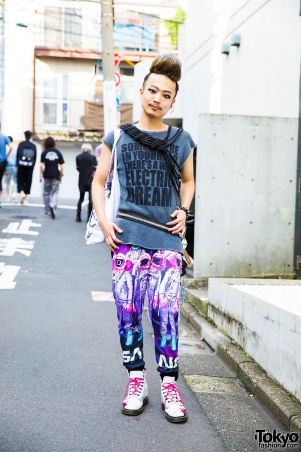 Harajuku Guy in Sleeveless Tee & Print Pants