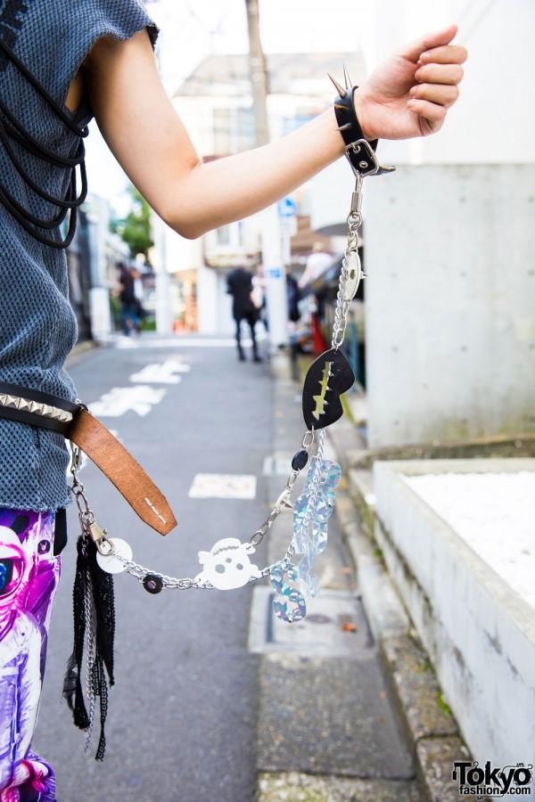 Milkboy Spike Bracelet w/ Chain Connected to Belt