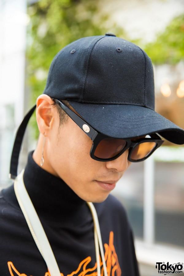 Black Cap & Round Sunglasses