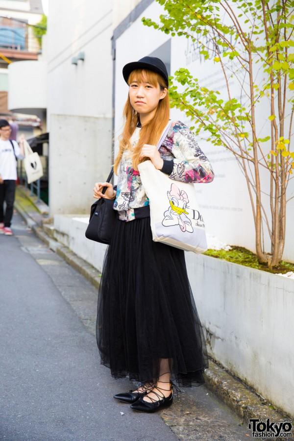 Harajuku Girl in Print Jacket & Maxi Skirt w/ New York Joe Exchange, UNIQLO & GU