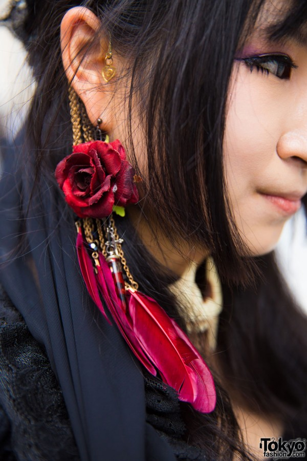 Flower & Feathers Statement Earring