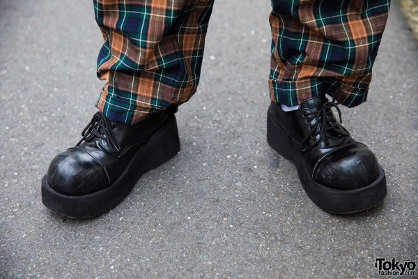 Plaid Pants & Demonia Platform Shoes
