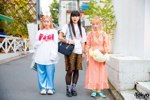 Harajuku Trio in Cute Resale Fashion w/ Tokyo Bopper, Southpaw, MYOB, Candy Stripper & Pompompurin