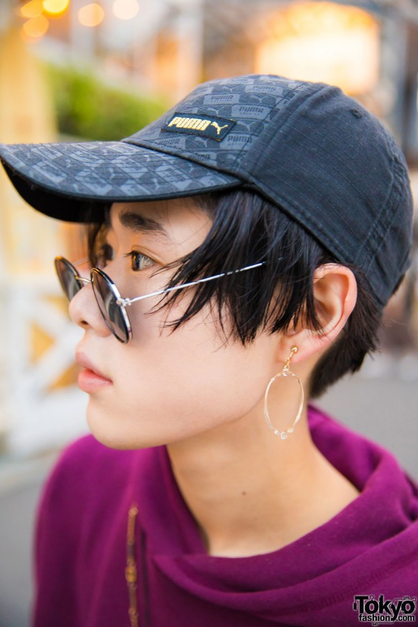 Puma Cap, Round Sunglasses & Hoop Earrings