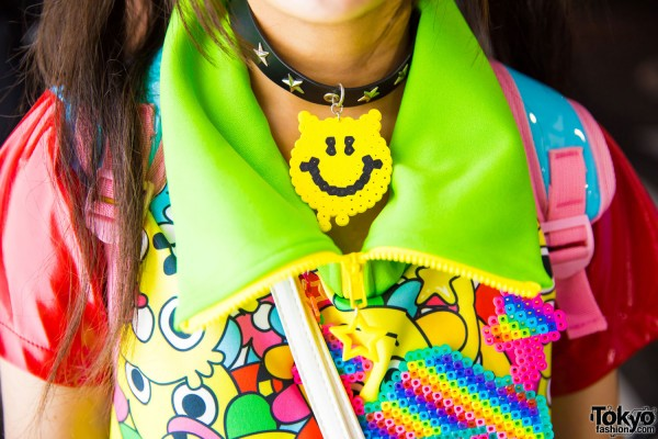 Collar Necklace w/ Smiley Face Pendant