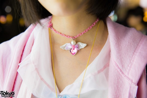 Pink Chain Pendant Necklace