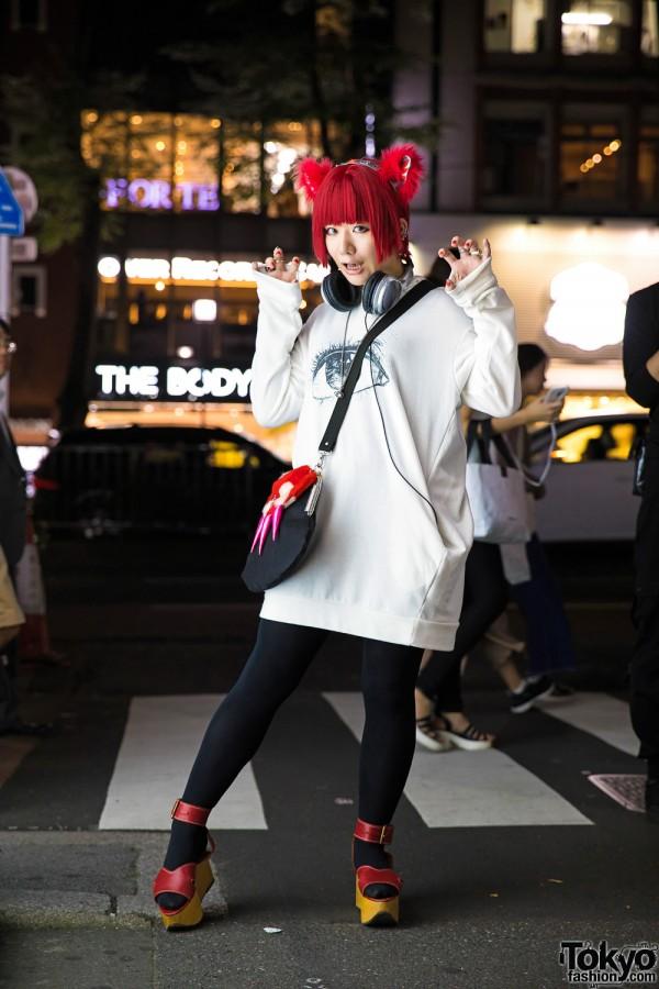 Harajuku Girl in Takuya Angel Ears w/ Funky Fruit Hoodie & Vivienne Westwood Platforms