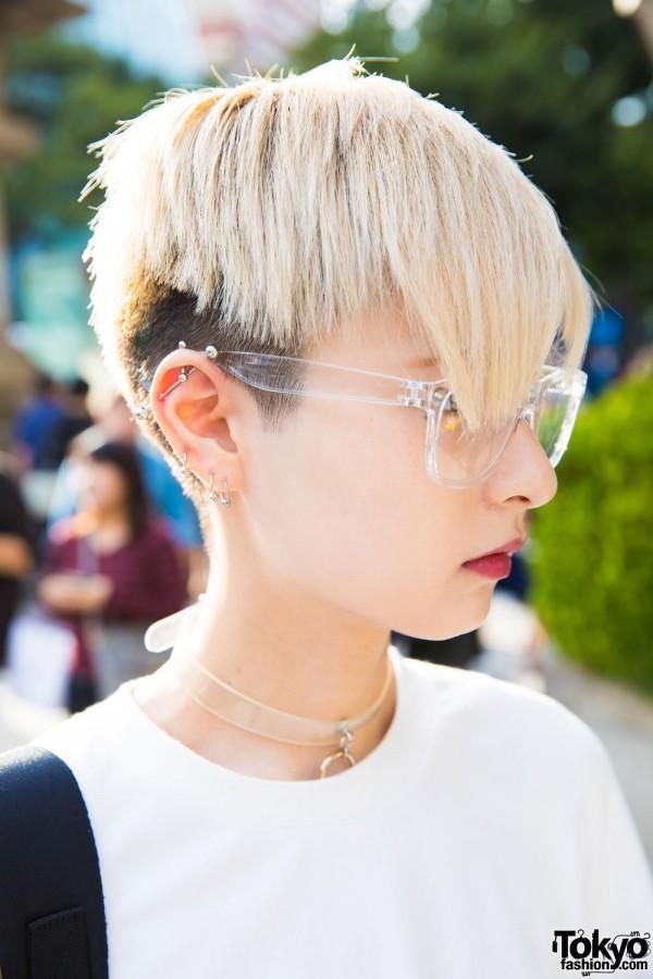 Monomania & Faith O-ring Choker, Transparent Eyeglasses, Earrings & Ear Studs