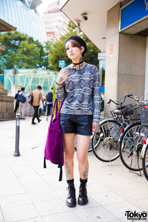 Leather Shorts & Beret Harajuku Street Style