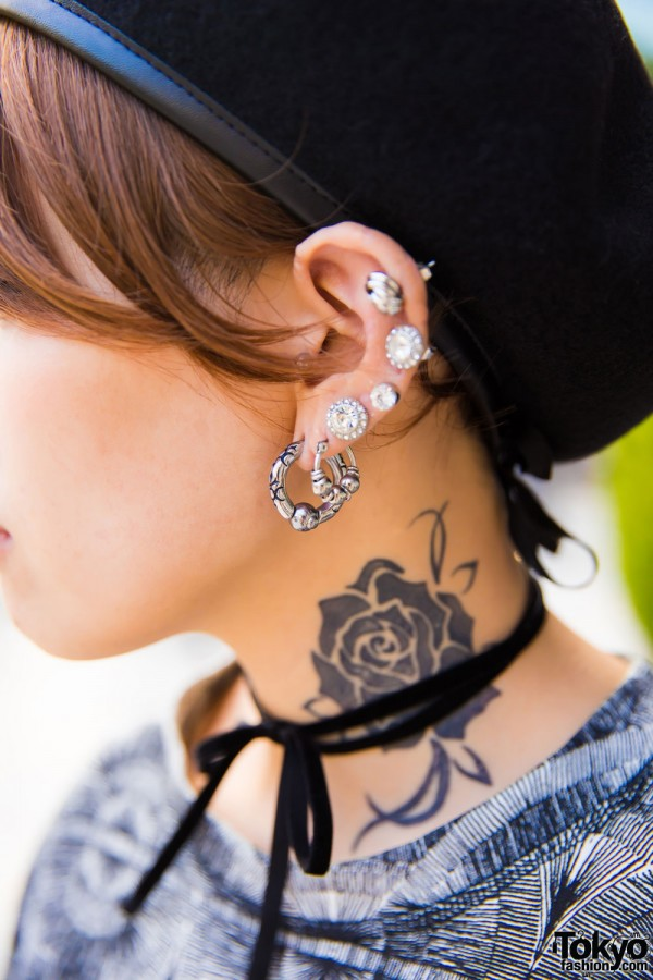 Hoop Earrings, Ear Studs & Bow Choker