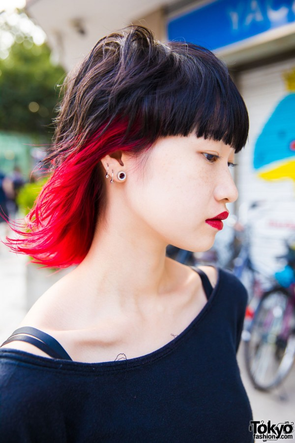 Gauged Ears, Ombre Red Hair