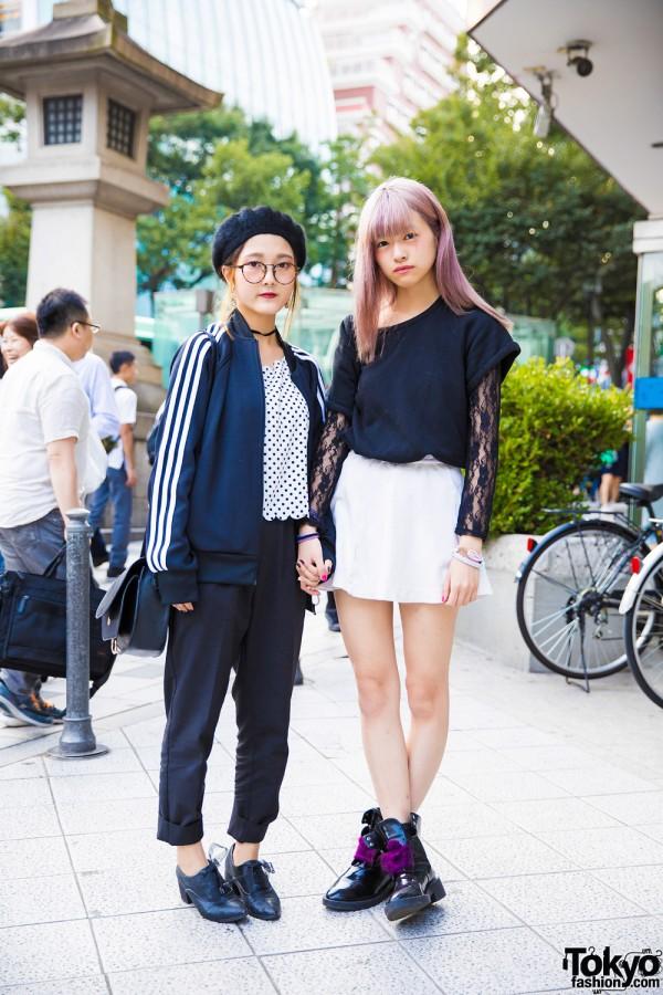 Harajuku Girls w/ Pink Hair & Glasses in UNIQLO, Adidas, Narcissus & Jeanasis