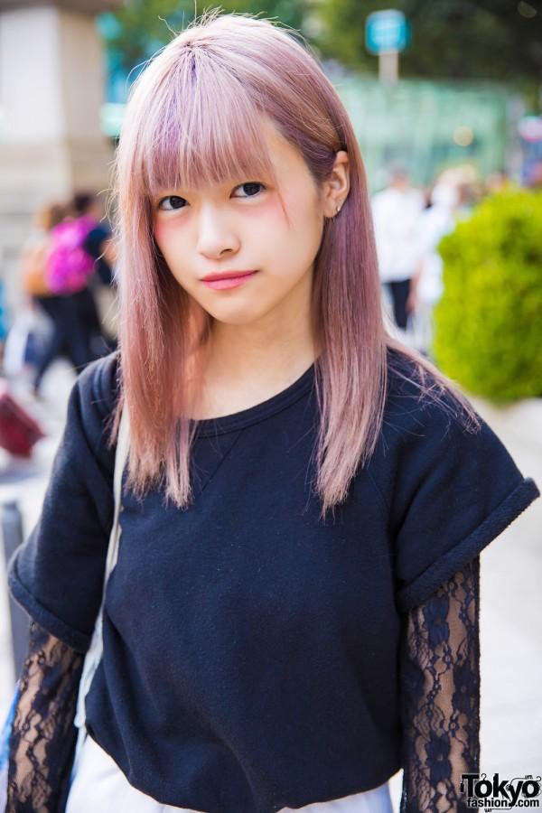 Uniqlo Black Shirt w/ Lace Sleeves