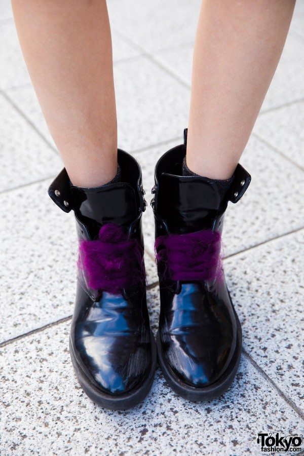 Zara Patent Leather Boots w/ Purple Laces
