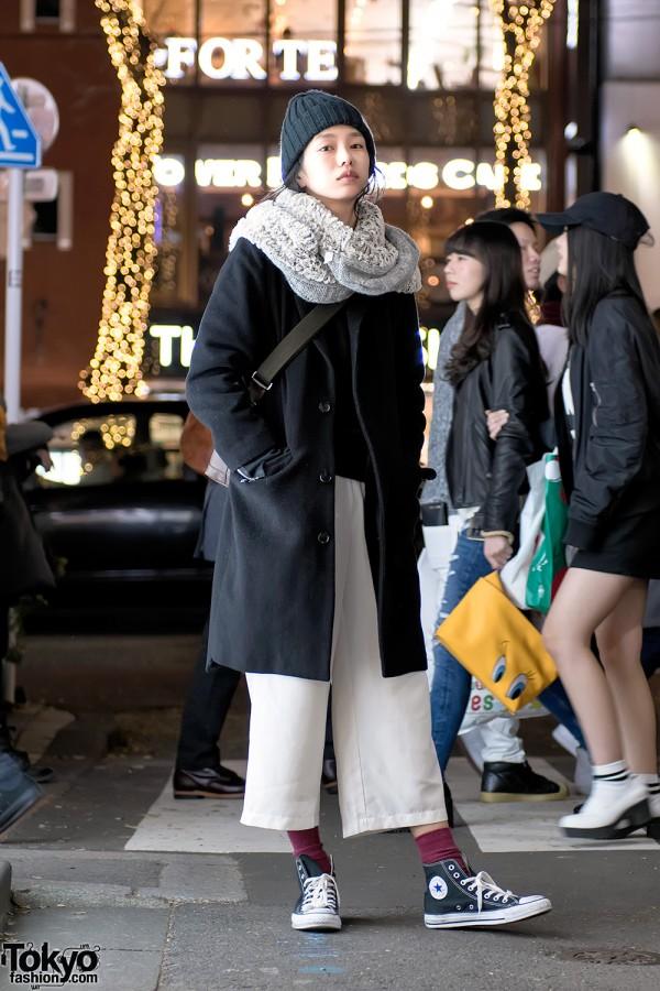 Japanese Model's Harajuku Street Style w/ I am I Coat, Converse Sneakers, Furla & Vintage Fashion