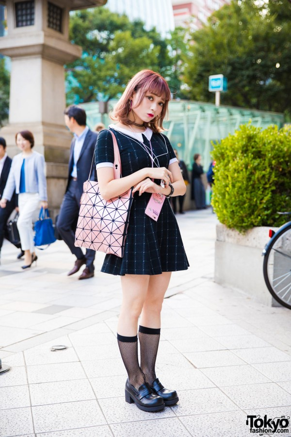 Harajuku Girl w/ Pink Hair in Peter Pan Dress & Spinns Accessories