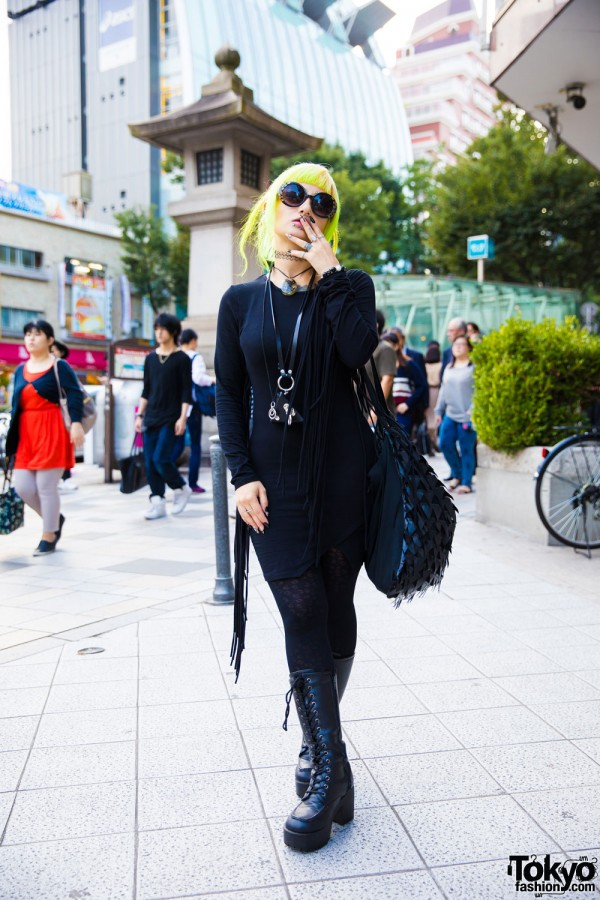 Neon-haired Harajuku Girl in Dark Street Style, Tattoos, Piercings & Never Mind the XU Accessories