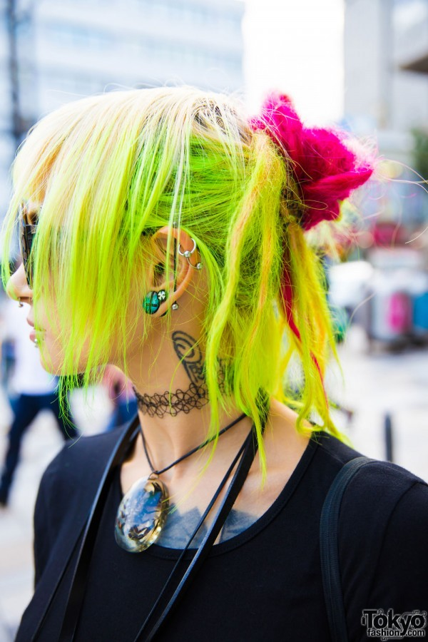 Neon Green and Pink Hair, Gauged Ear, Ear Cuffs