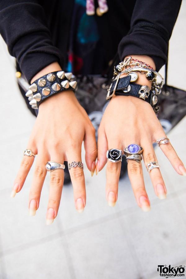 Studded Wristbands & Multiple Rings