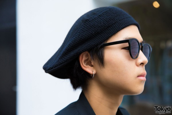 Black Beret, Black Sunglasses & Silver Hoop Earrings