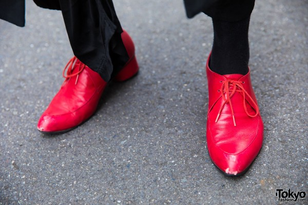 Comme des Garcons Red Pointy Shoes