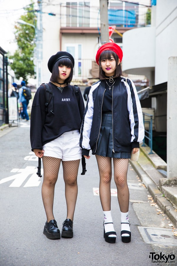 Harajuku girls in fishnet tights & berets