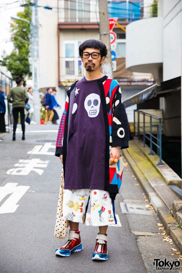 Harajuku Guy in Colorful Fashion w/ Henrik Vibskov, HEIHEI & Satoru Tsuda x Galaxxxy