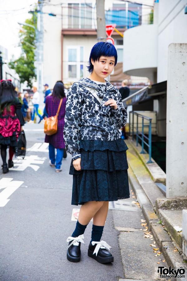 Blue-Haired Harajuku Girl in Mikio Sakabe x Pink House, Punk Cake & Tokyo Bopper